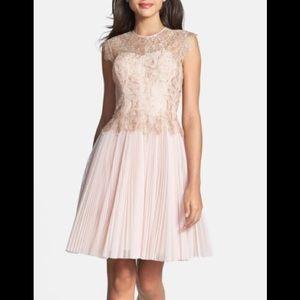 'Remma' Metallic Lace Overlay Fit & Flare Dress